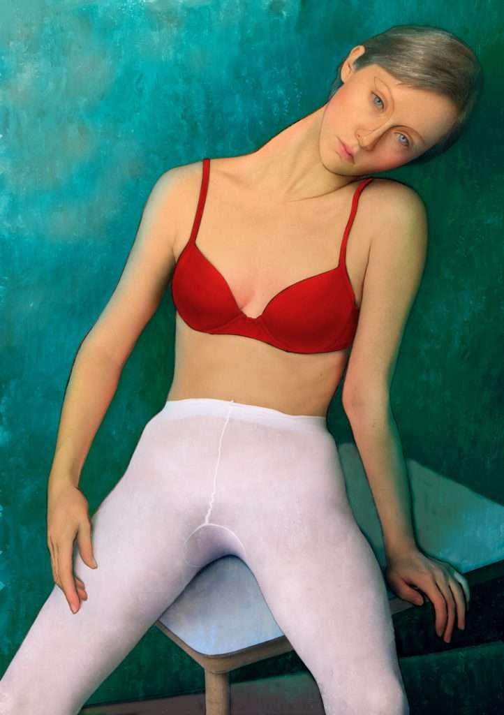 Girl red bra white pants
