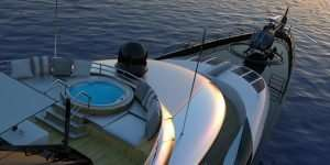 LuxurSuper Yacht Pool Helicopter