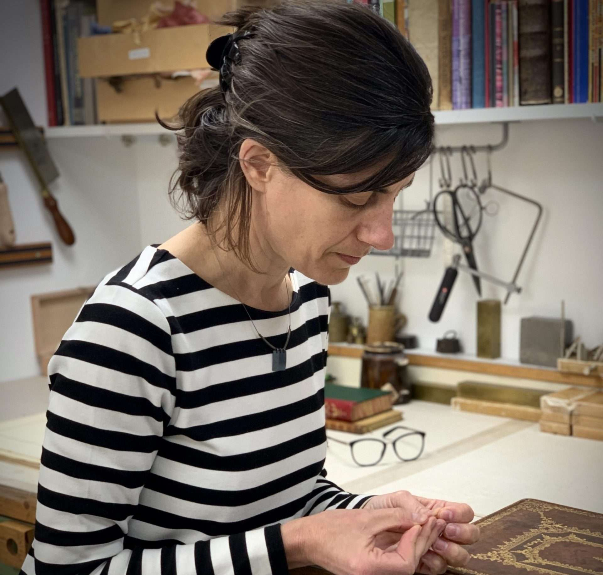 Natasha Herman Redbone Bindery at Work