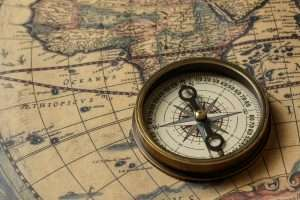 Retro compass old map