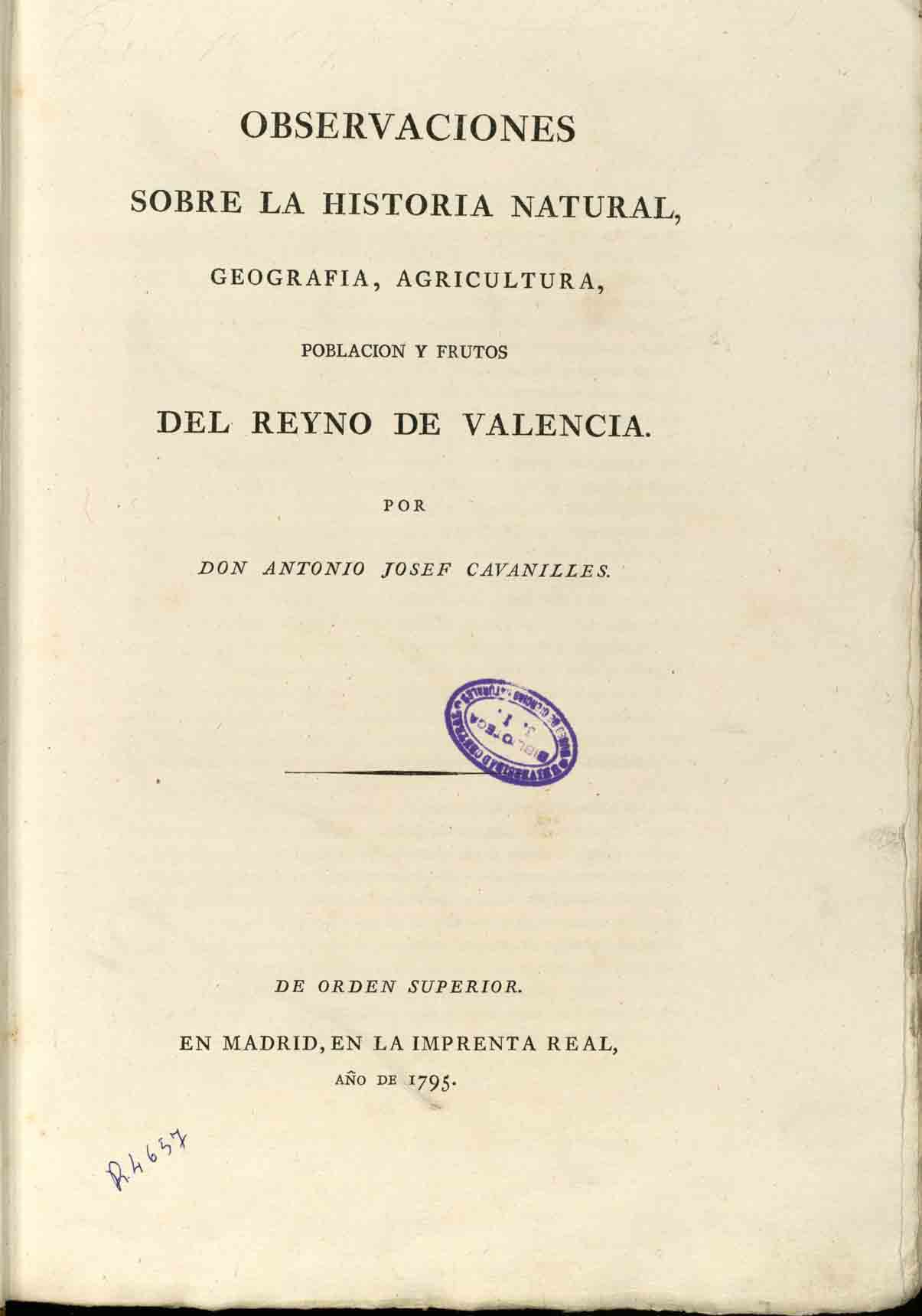Cavanilles Book on Natural History